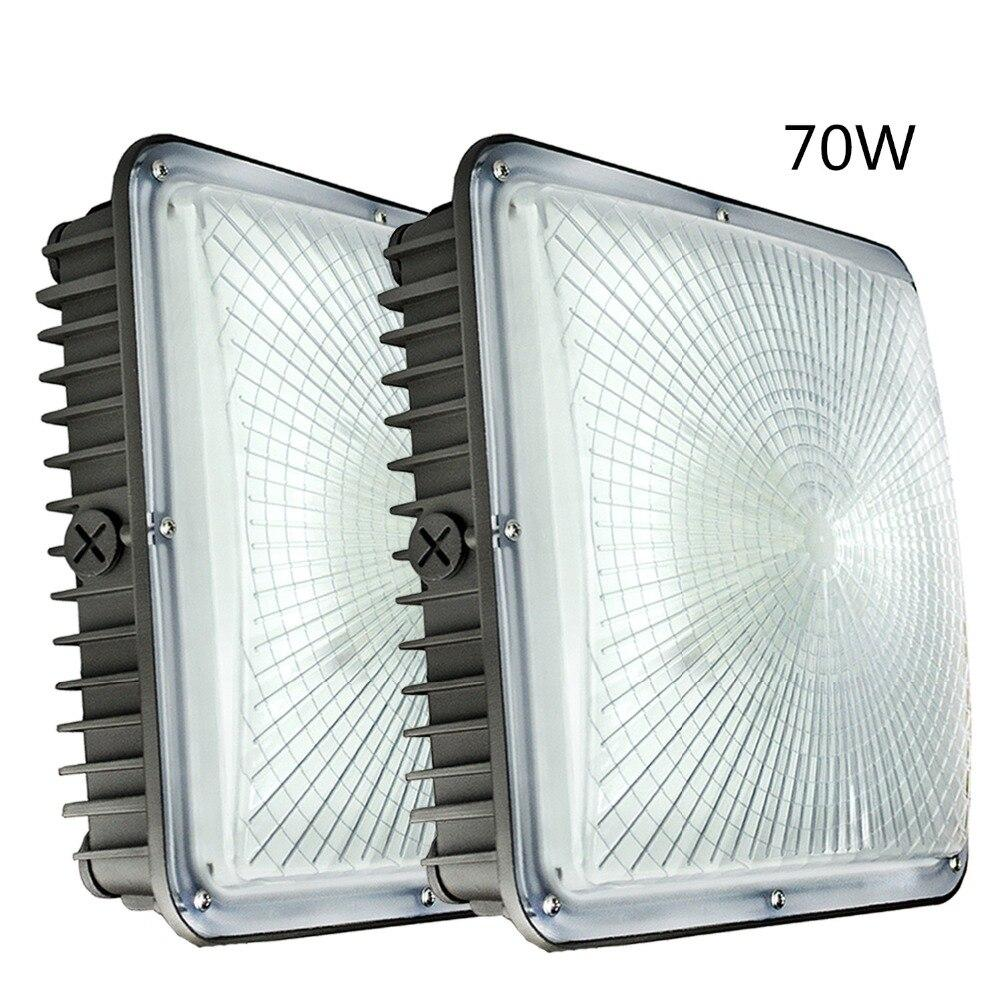 LED canopy light 2 pack 70w 7700lm 120v-277v input 5500k super for gas station garage parking lot