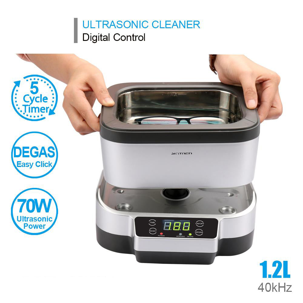 Ultrasonic cleaner bath 1200ml with degas detachable tank jewelry cutters tools parts dental cleaning sterilizer