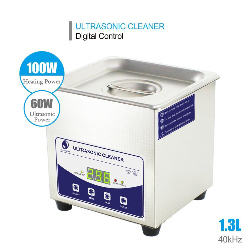 Ultrasonic cleaner digital 1.3l 60w degas heater timer bath washing stones jewelry dentures cutters tools metal parts etc