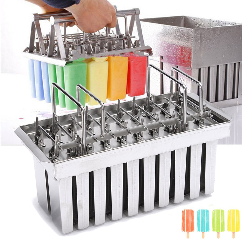 Ice pop molds stainless steel machine lolly 20pcs popsicles mould stick holder home kitchen shop cream maker large
