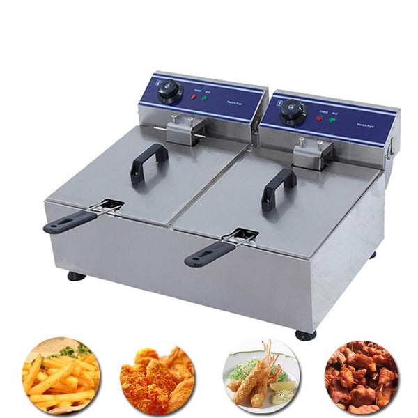 Deep fryer stainless steel double tank electric smokeless french fries chicken grill multi-function mini hotpot oven