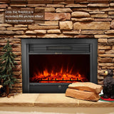 "Embedded LED fireplace 1800w 28.7""""*21"""" insert heater glass view adjustable flame heat setting with remote control"