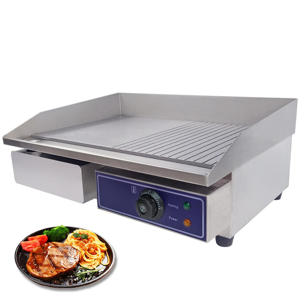 Electric grill semi-flat semi-wave bbq dog beef kebab frying for home or commercial restaurant kitchen