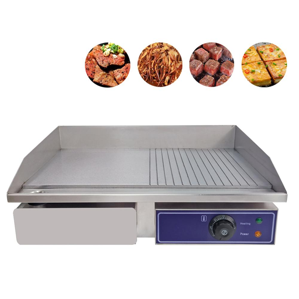 Mini electric griddle barbecue machine with half flat plate groove double temperature control
