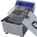 Electric deep fryer commercial french fries fat single tank frying pan stainless steel chips chicken machine