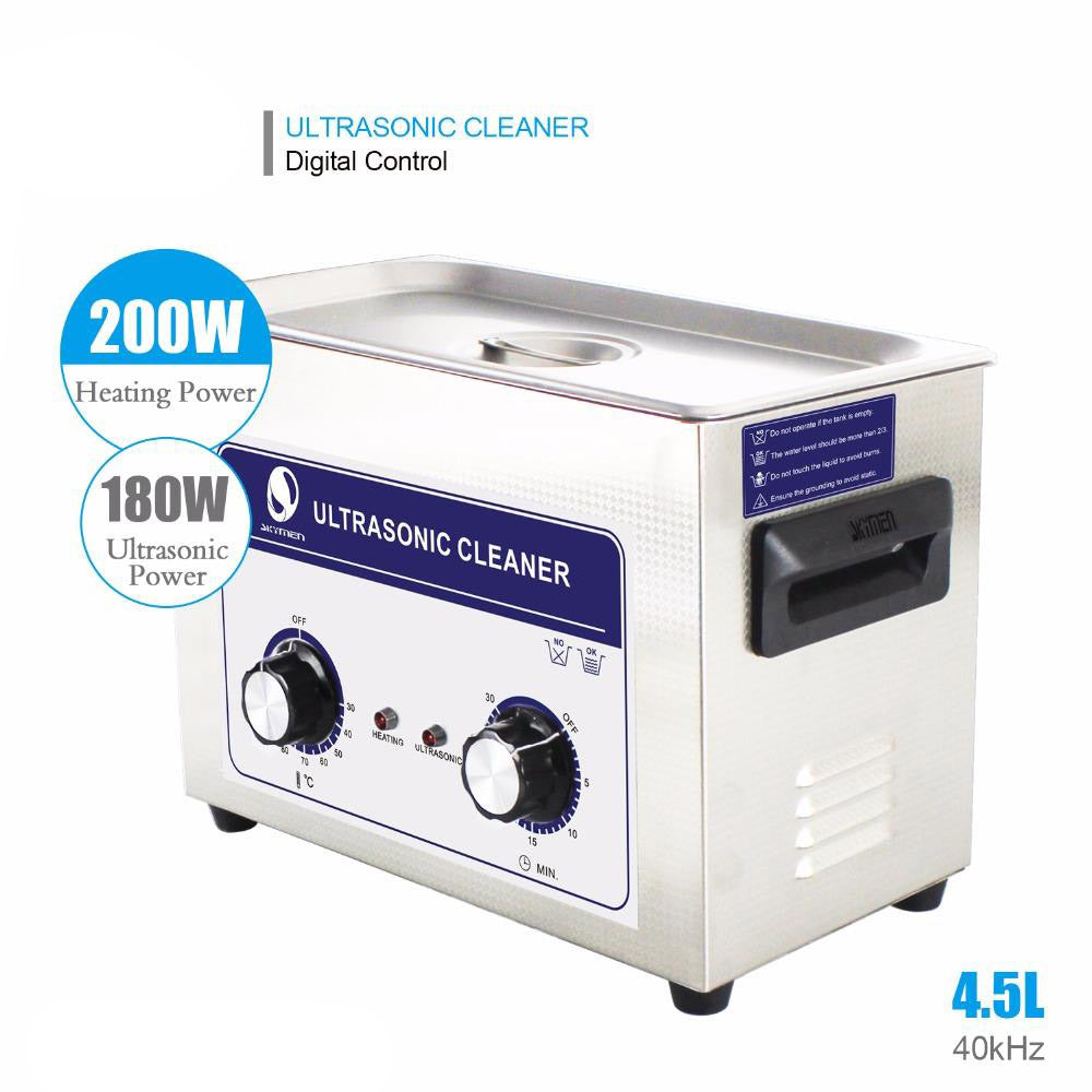 Ultrasonic cleaner 4l 4.5l 180w knob stainless steel bath hospital industrial auto engine parts