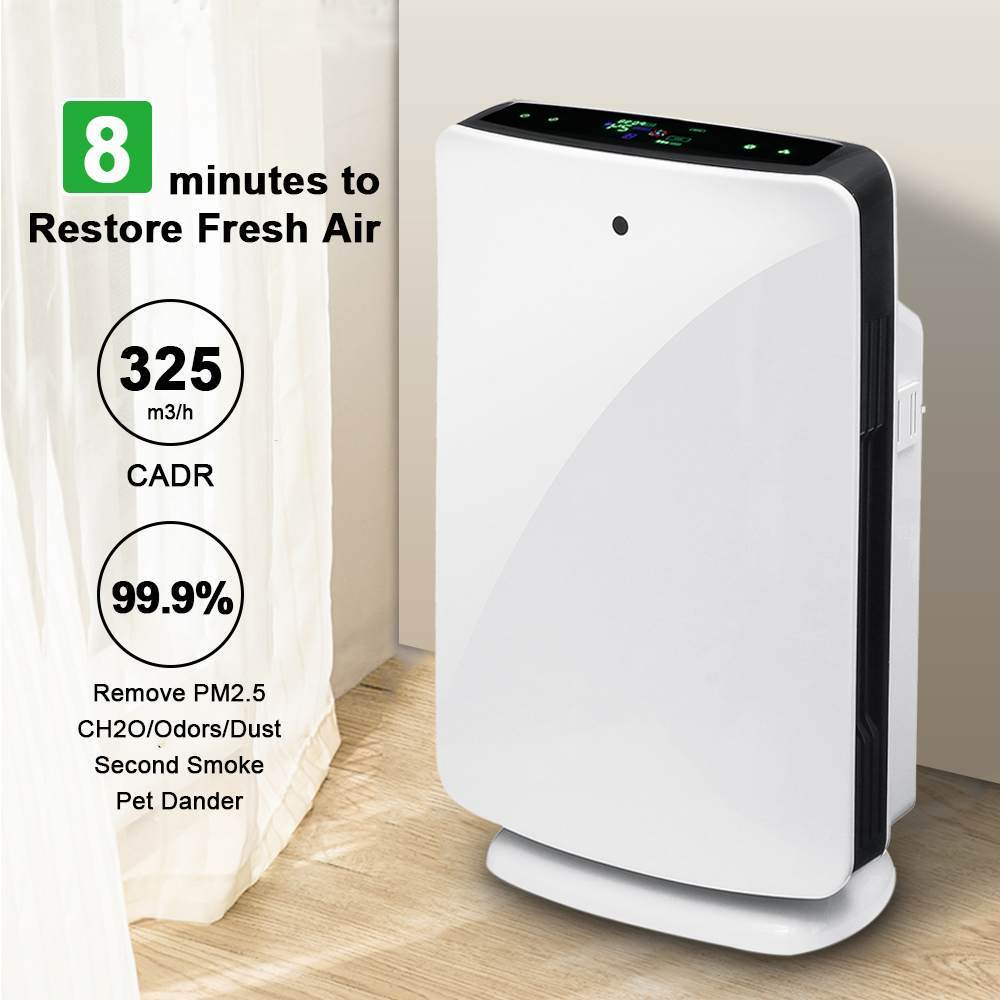 Home office air purifier true hepa filter odor allergies remover for smoke dust vocs pollen pet dander pm2.5