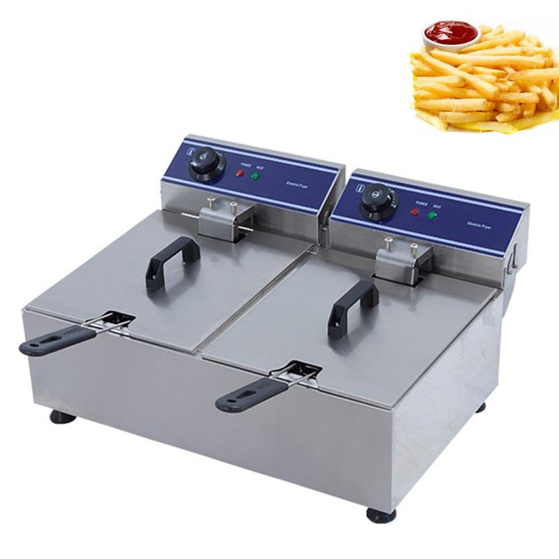 Electric deep fryer multi-functional household commercial stainless steel grill frying pan french fries machine