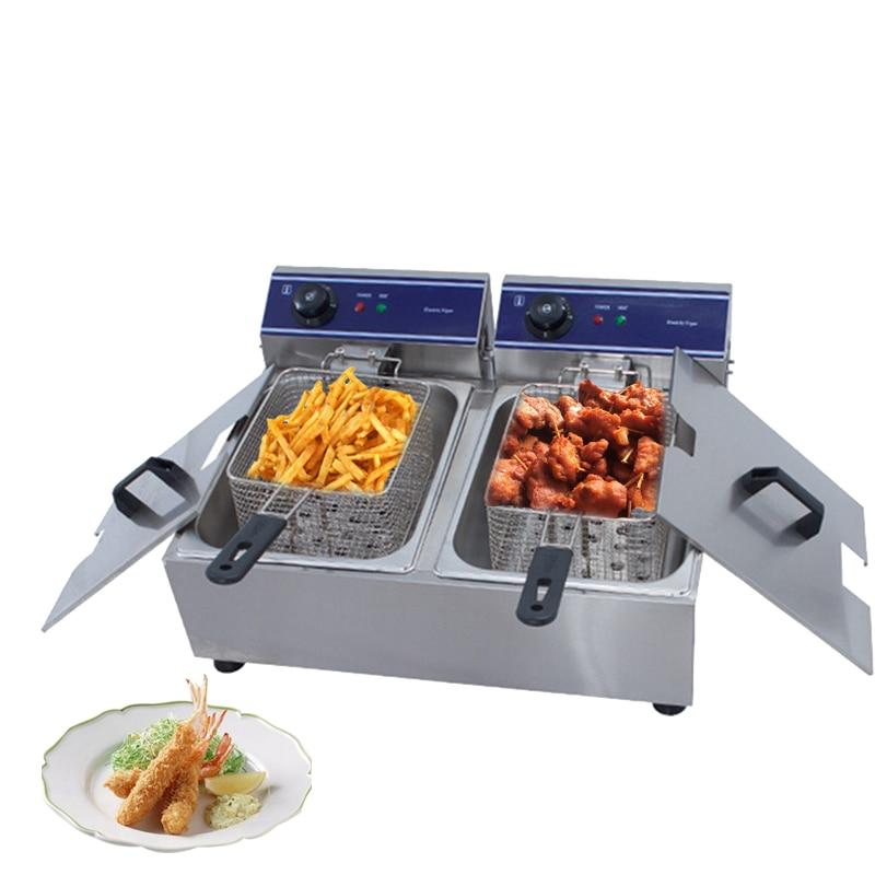 Frying machine stainless steel double tank electric basket french fries fryer chicken grill hotpot oven