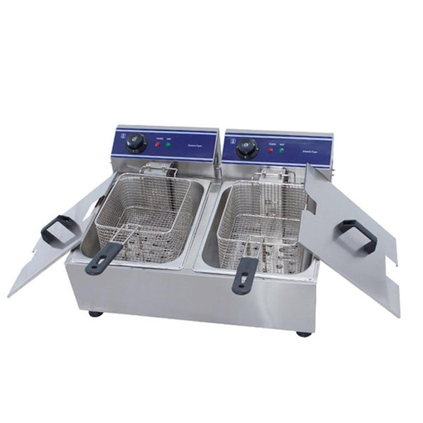 Fryer machine stainless steel double tank electric deep french fries potato multi-function frying pan grill