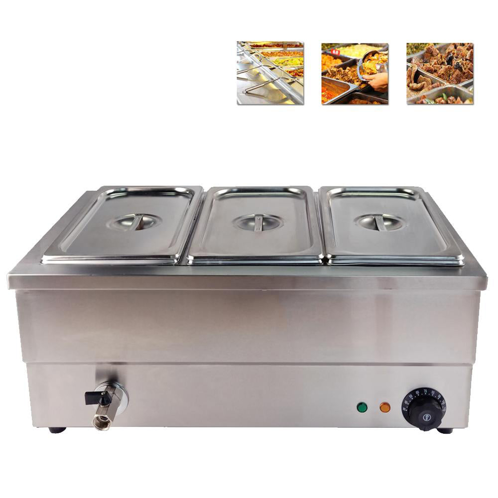 Bread warmer 3-tanks multifunctional electric food cake steamer stainless steel commercial or household bain marie