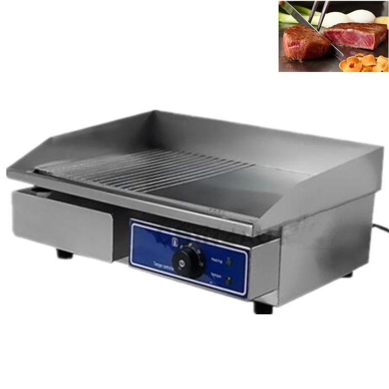 Electric griddle kitchen equipment cooking bbq teppanyaki stainless steel contact grill panini barbecue grill