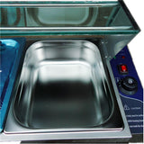 Buffet container 3 pan wet well bain marie food stainless steel 1/2 catering commercial glass top electric fast warming