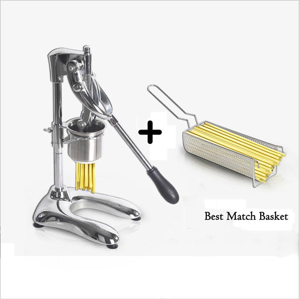 French fries maker long 30cm super stainless steel potato chips noodle squeezer kitchen extruders matching basket