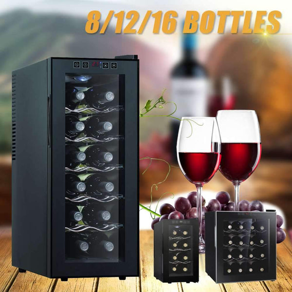 Wine cabinet professional thermostatic 8/12/16 bottles cooler refrigerator air-tight beer drink for commercial/household