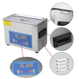 Ultrasonic cleaner 4.5L stainless steel industry heated with heater timer built in transducer for jewelry cleaning