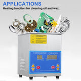 Ultrasonic cleaner professional stainless steel 1.3l liter industry heated heater large digital timer temperature display
