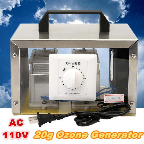 Car AC protable 110v 20g ozone generator disinfection machine home air purifier + steel cover us plug