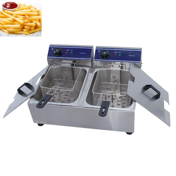 Deep fryer stainless steel electric chicken countertop dual tank fried fish fat basket commercial restaurant kitchen