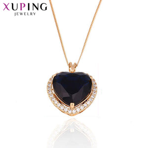 11.11 Deals Xuping Heart Shaped Necklace Pendant Women Girls Luxury Temperament Jewelry Gift for Valentine's Day S2-32328