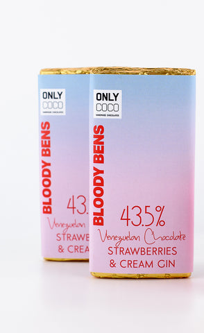 TRADE PRICE: STRAWBERRIES AND CREAM GIN CHOCOLATE - PACK OF 20 - BloodyBens
