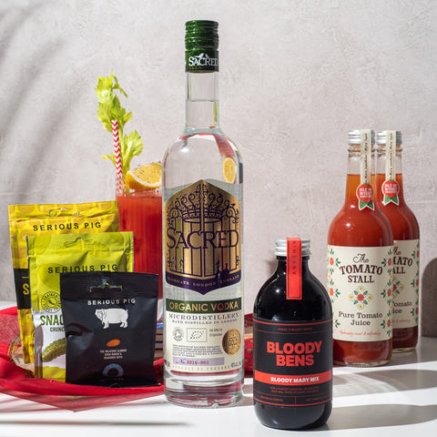 Sacred Vodka with Bloody Bens Mix, 2 Tomato Juice & Snacks - BloodyBens