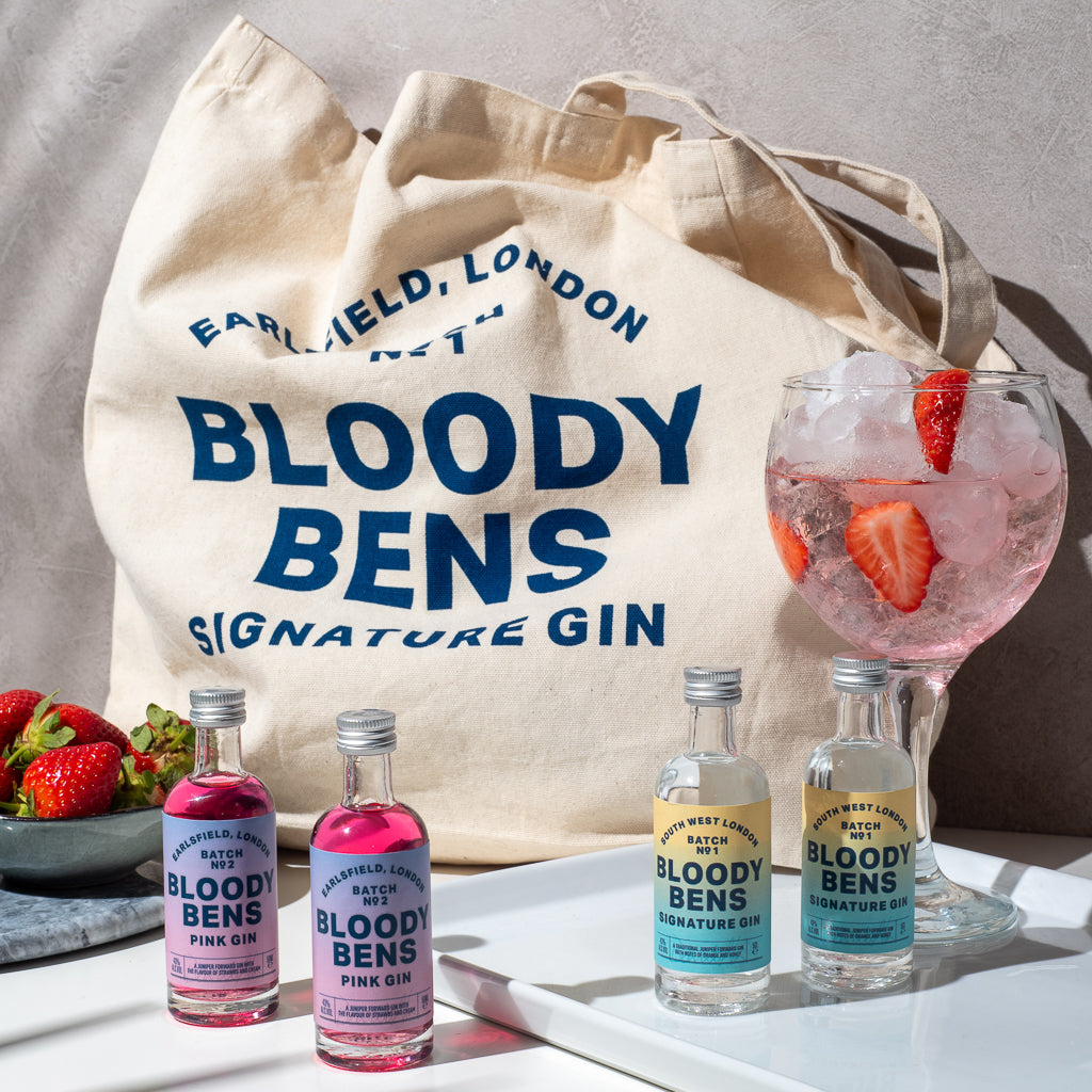 Beach & Park ready; Mini Signature & Pink Gin Pack with Beach Bag - BloodyBens