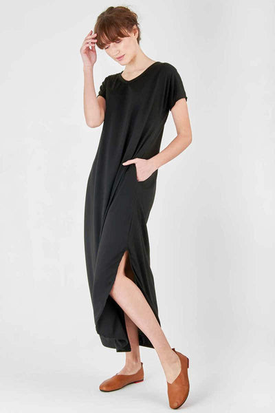 Side-Slit Maxi Dress with Pockets