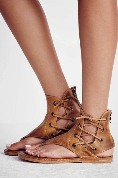 Gladiator Leather Lace Up Sandals