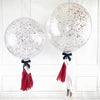 Red Silver Glitter Bubble Balloon