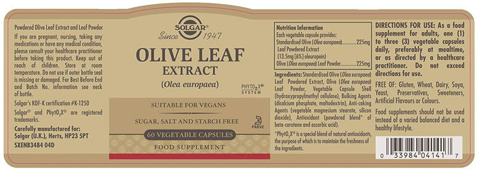 Solgar Olive Leaf Extract - 60 E4141