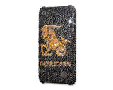 Horoscope Capricorn Bling Swarovski Crystal Phone Cases - Black Gold
