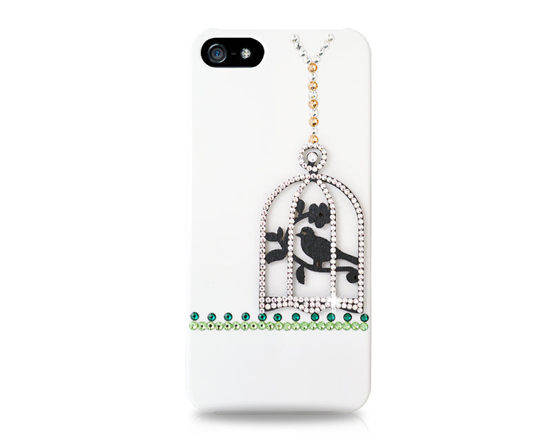 Cage On Tree Bling Swarovski Crystal Phone Cases - White