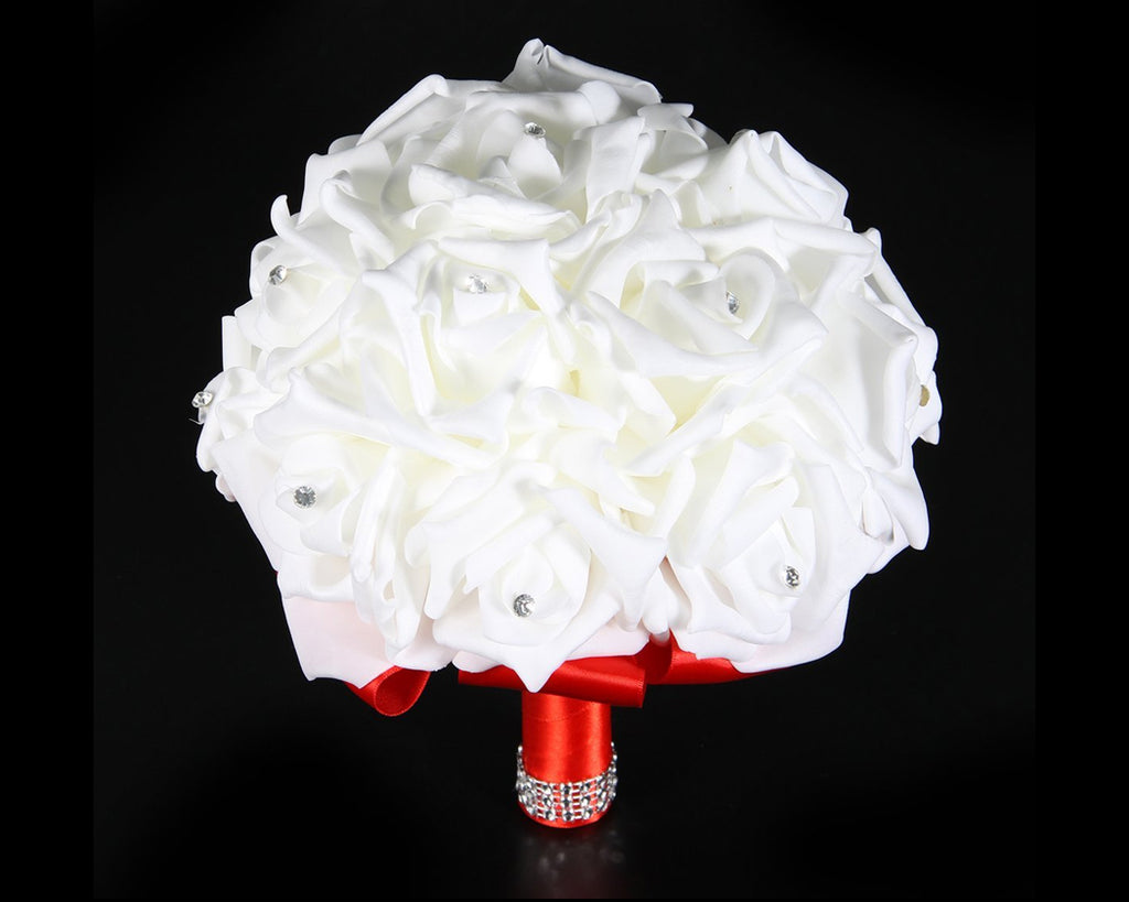 Silk Rose Wedding Bouquets with Crystal Decoration - Red