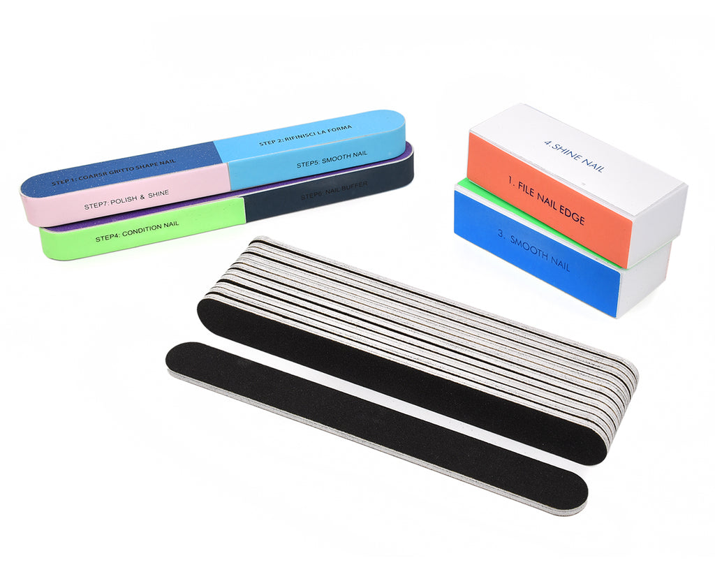 Nail Files and Buffer Blocks Set of 16 Manicure Tools for Shaping and Polishing