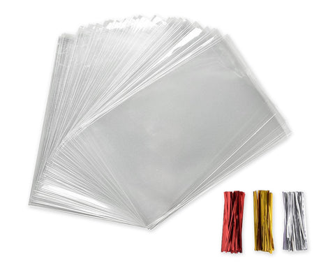 Cellophane Bag 300 Pieces Clear Treat Bags with Twist Ties
