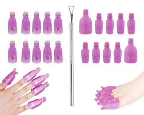 Nail Polish Removal Clips with Scraper 20 Pieces Nail Sock Off Clips