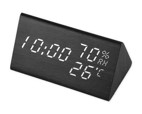 Wooden LED Digital Alarm Clock Wood Clock with Voice Activation - Black