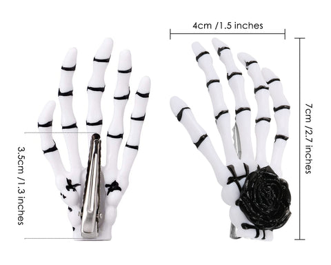 2 Pairs Gothic Skeleton Hands Bone Hair Clips - Rose
