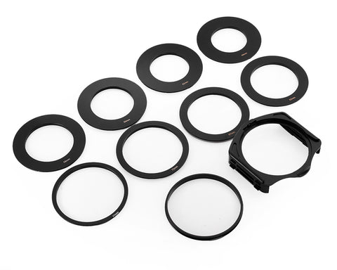 9 Pcs Square Lens Filter Adapter Ring with 3 Slots Filter Holder