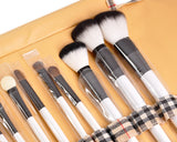 20 Pcs Cosmetic Makeup Tool Set with Soft Case - Brown
