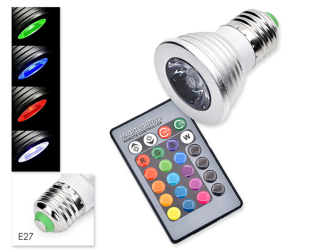 5W E27 Multiple Color LED Light Bulb with Wireless Remote Control