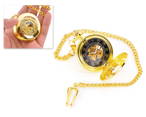 Luxury Hand Wind Mechanical Pocket Watch with Chain - Golden