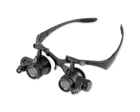 LED Embedded Jewelry Magnifier Glasses Loupe with 10x/20x Lens