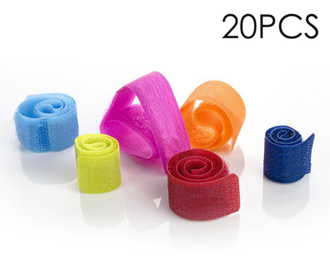 20 Pieces Reusable Colorful Velcro Cable Ties