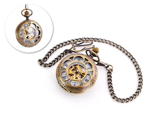 Classic Hand Wind Mechanical Pocket Watch with Chain - Copper