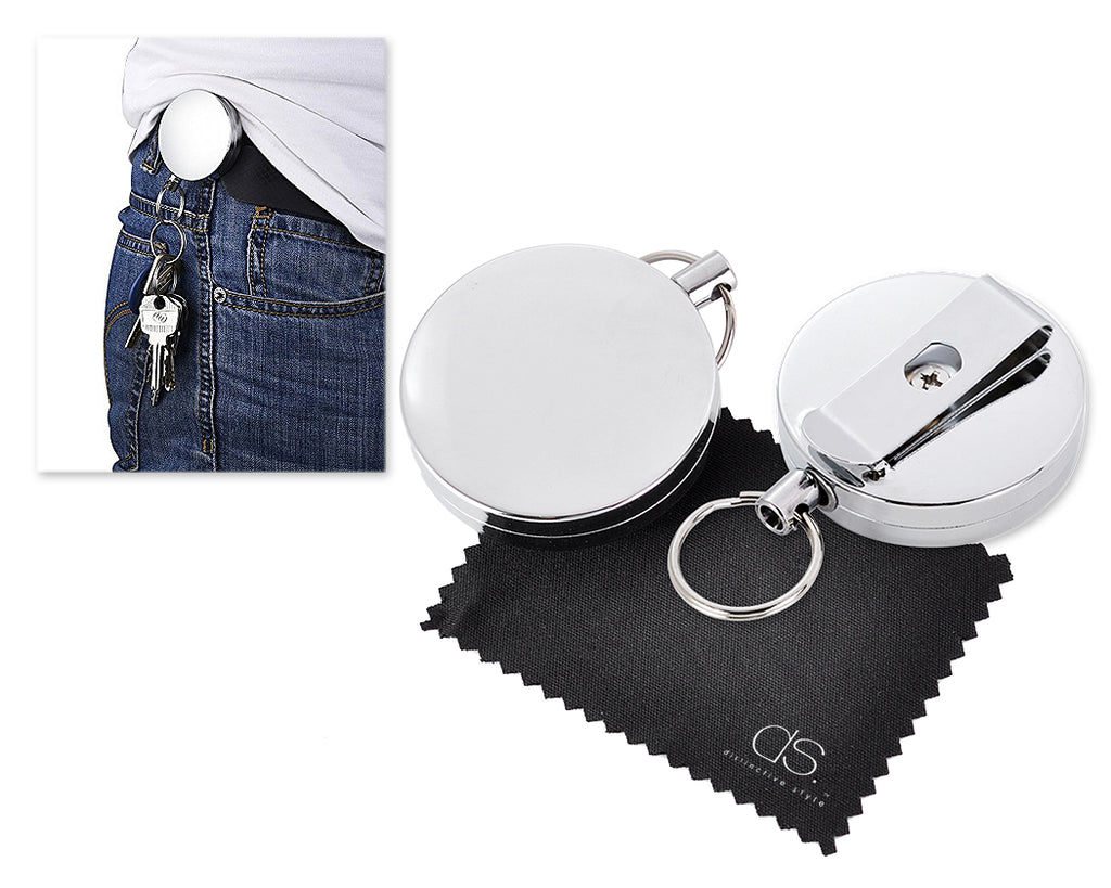 2 Pcs Belt Clip Retractable ID Badge Key Reel w/ 36 Inches Steel Chain