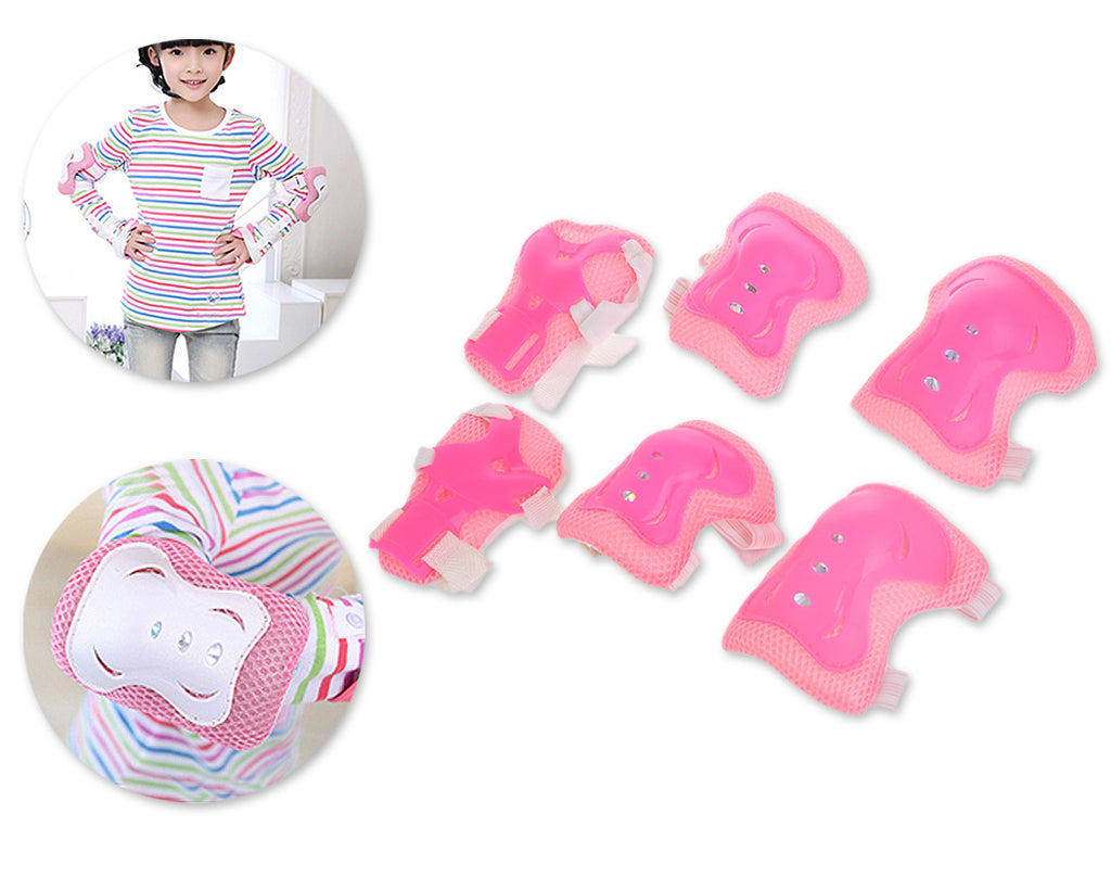 6 Pcs Kids Safety Pads Set for Knee / Elbow / Wrist - Pink
