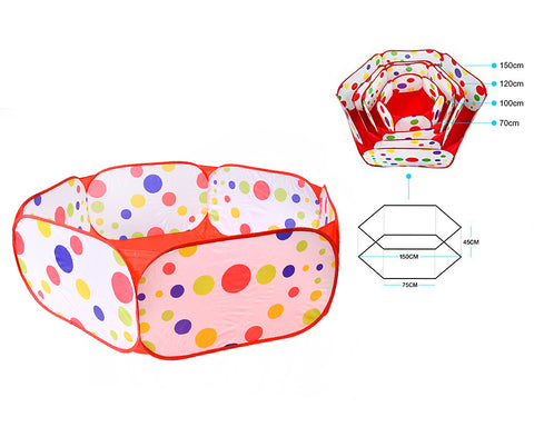 1.5m Foldable Hexagon Ball Pool Tent with Red Zippered Bag for Kids