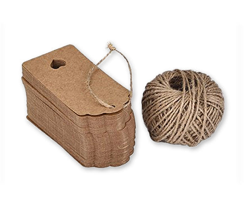 100 Pcs 9cm x 4cm Kraft Blank Hang Paper Tags with Hemp Rope